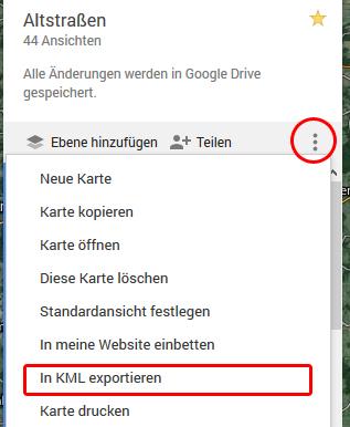 KML-Daten aus Google Maps exportieren