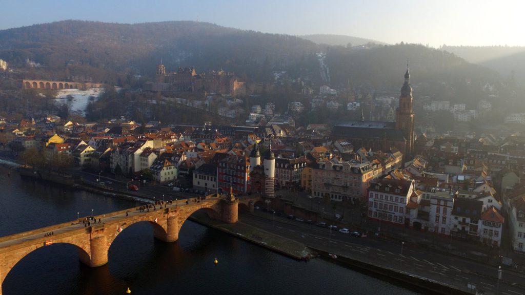 Aussicht auf Heidelberger Schloss, Alte Brücke, Altstadt, Heiliggeist-Kirche
