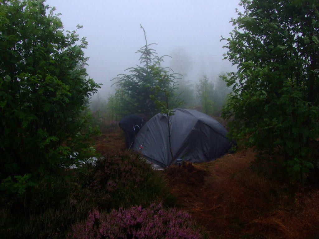 Nebel auf dem Zeltplatz in der Heide