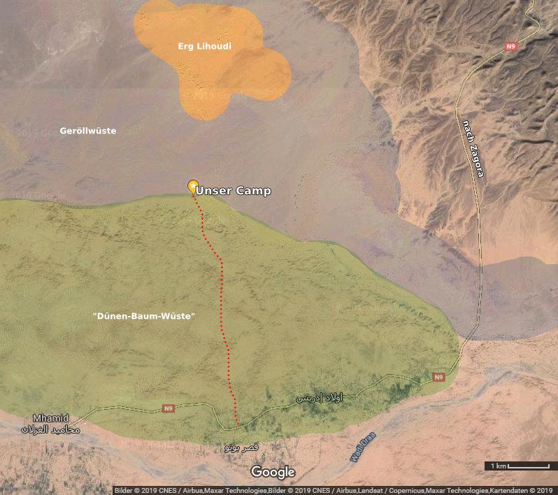 Satellitenbild mit der Lage des Camps etc